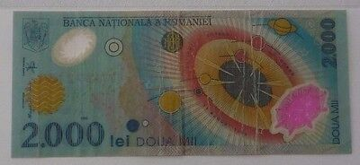 Romania 1999 Two Thousand Polymer Lei 2,000 Note 003A0721613