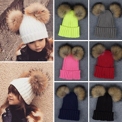 Toddler Kids Girl Big Raccoon Fur Hat Double X-Large Pom Winter Knit Beanie Cap