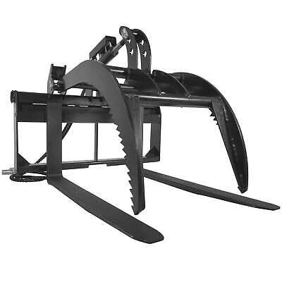 "48"" Pallet Fork Grapple Attachment Skid Steer Loader Tine Rake Bucket"