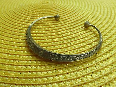 NIGER African Ethnic GOLD TONE Jewelry Tuareg Silver ETCHED  BRACELET F
