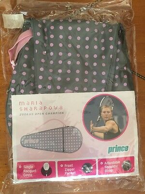 New Prince Tennis Racquet Cover Case Pink Gray Polka Dots Sharapova SOLD OUT OOP