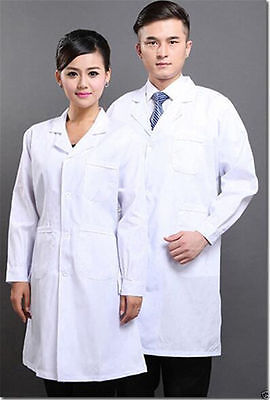 New Mens Womens White Lab Coat Scrub Medical Doctor's Jacket#1