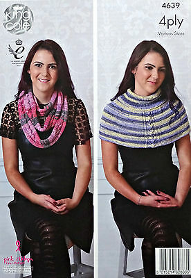 KNITTING PATTERN Ladies Cable Scarf & Shoulder Warmer Party Glitz 4ply KC 4639