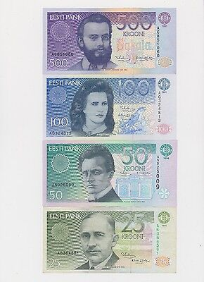 1991 ESTONIA KROONI BANKNOTE 500,100,50,25,10,5,2 and 1 FULL SET