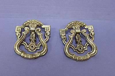 2 Vintage Antique SOLID Brass Victorian Ring Style Drawer Pulls Knobs w/ Screws