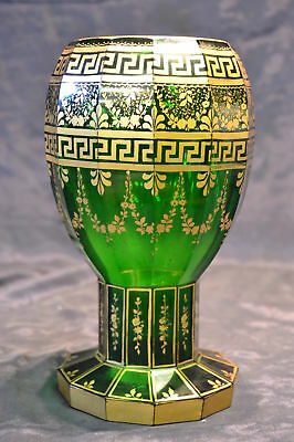 Antique mid19th Century Green Bohemian moser Vase Larg