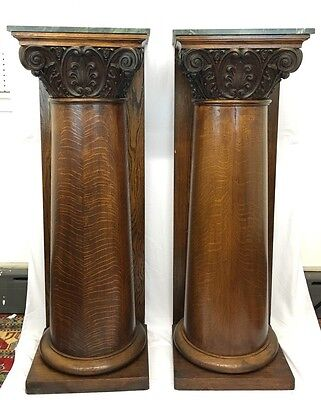 Wonderful Large 55 Inches Tall Pair Of Oak Pedestals With Green Marble Tops