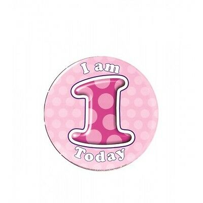 Birthday Badges 5cm Ages 1 to 13 Girl Select from Dropdown menu for age