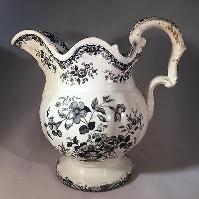 Antique Welsh Swansea Pottery Jug - Black & White Transfer Ware Flowers Birds NR