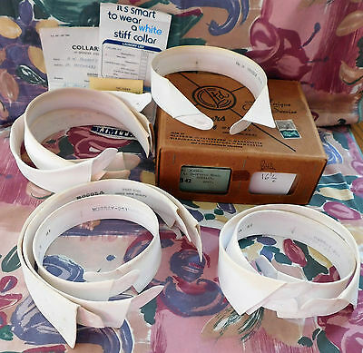 9 detachable shirt collars in box Size 16.5 stiff starched nostalgia IMPERFECT