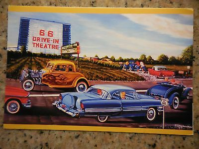 CLOSEOUT! Vintage Scene 66 Drive-In Carthage MO & Packard Route 66 Post Card