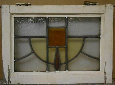 "OLD ENGLISH LEADED STAINED GLASS WINDOW Sweet Geo Swag 20.5"" x 14.75"""