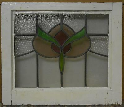 "MID SIZED OLD ENGLISH LEADED STAINED GLASS WINDOW Stunning Floral 24"" x 20.5"""