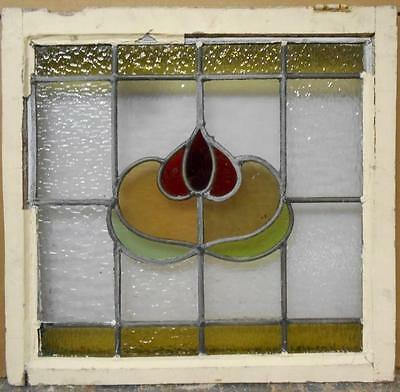"MID SIZED OLD ENGLISH LEADED STAINED GLASS WINDOW Floral Beauty 22.75"" x 21.75""7"