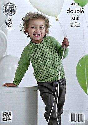 KNITTING PATTERN Boys Long Sleeve Round Neck Cable Jumper DK King Cole 4151