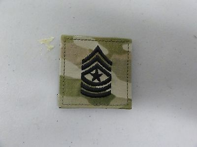Military Patch Us Army E-9 Sgm Sergeant Major Rank Hook And Loop Back Multicam