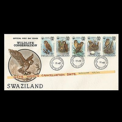 """Swaziland 1982 Wildlife Conservation Owls """"WWF"""" FDC - Incorrect Date"""