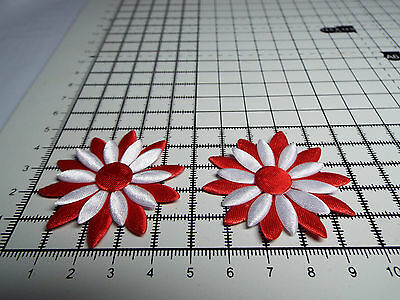 2x Satin Pink//White with Pink Big Appliqu Daisy Motif,Trimmings,Wedding 4.3cm