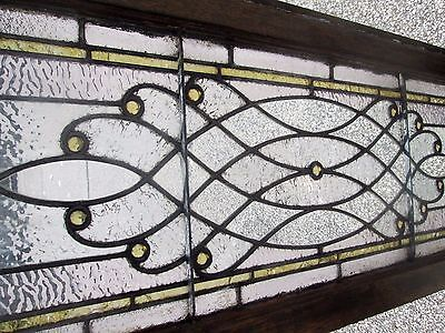 "Antique Stained Glass 56"" Long Transom Window  W/ 13 Jewels Arts & Crafts # 641"
