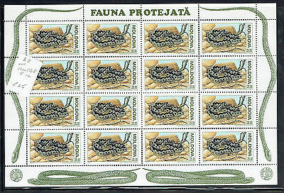 Moldova 1993 25R snakes sheetlet of 16 unmounted mint