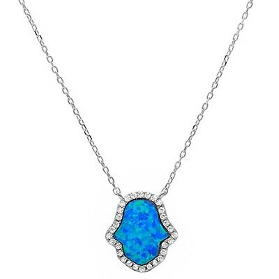 Blue Opal & Cubic Zirconia Hand of Hamsa .925 Sterling Silver Pendant Necklace