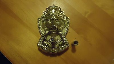 Vintage CHROME  Lion's Head Door Knocker with  Door PEEP ABOUT 7""