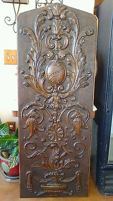 Antique 5' Hammered & Carved Wood Panel Architectural Bordello Salvage