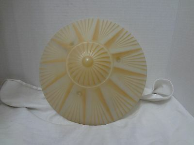Vintage Art Deco Glass Light Lamp SHADE Ceiling Hanging Fixture Two Tone