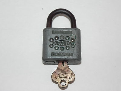 Vintage Fraim Rustproof, Pin Tumbler Padlock With Original Key