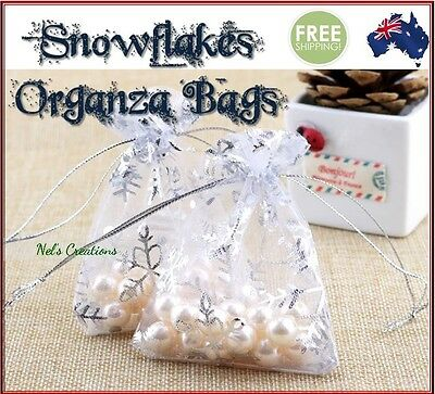 Snowflakes Organza Bag Sheer Bags Jewellery Wedding Candy Packaging Gift 50/100