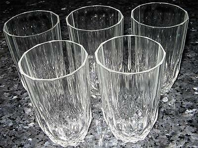 5 Retro Crystal Vintage Water Glasses - Great Condition