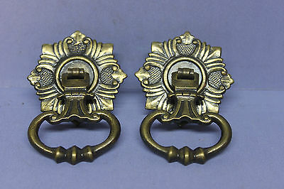2 Vintage Heavy Brass Plated Victorian Drawer Door Pulls Knobs Handles w Screws
