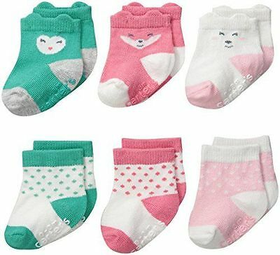 Carter's Baby Girls Face Socks 0-3 3-12 12-24 Month Pack of 6 Infant NEW Cute