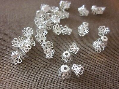 50 Silver Coloured Filigree Bead Caps 5mmx6mm (0.9mm Hole) #bc3526 Findings