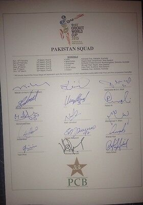 Pakistan 2015 World Cup Cricket SIGNED team sheet Yasir, Younis Khan, Misbah etc