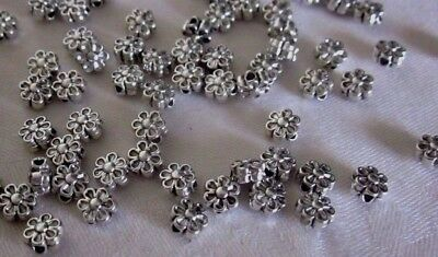 50 Silver Coloured 6mm Flower Spacer Beads #sp3533