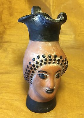 "5"" Terracotta Pottery Woman's Head / Bust Oinochoe Jug Antiquities Reproduction"