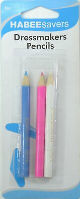 Habeesavers Dressmakers Pencils, 3 Pack, Blue, Pink, White