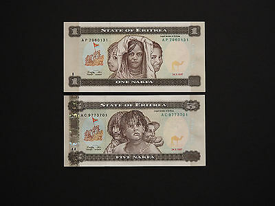 Eritrea  -  Lovely Set Of Two High Quality Banknotes 1997   * Mint Unc  *