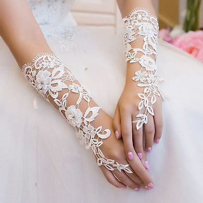 New White Fingerless Elbow Lace Wedding Party dress Bridal Glove-UK seller