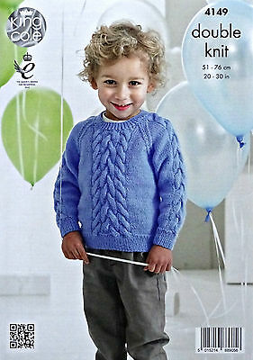 KNITTING PATTERN Boys Long Sleeve Round Neck Cable Jumper DK King Cole 4149