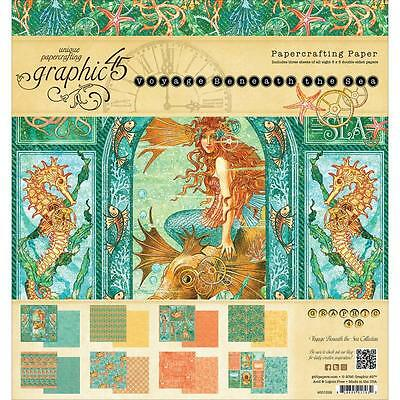 "Graphic45 Voyage Beneath The Sea Double-Sided Paper Pad 8""X8"" 24/Pkg Motivblock"