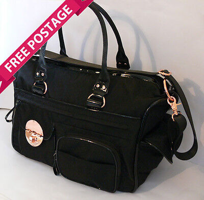 FREE POST MIMCO Lucid Black Baby Nappy Bag Rose Gold NEW RRP $299