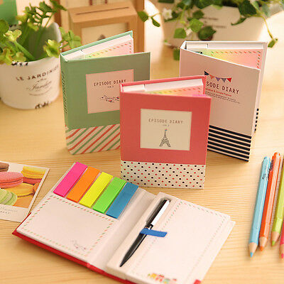 Cute Memo Pad Post It Notepad Sticky Notes Kawaii Stationery Diary Notebook+Pen