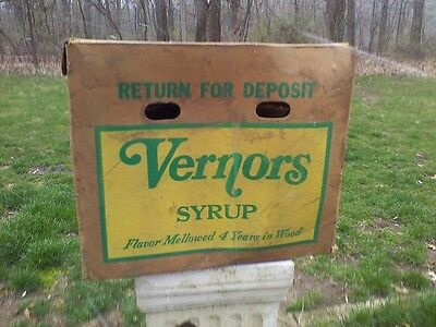 Vernors Ginger Ale Soda Four 1 Gallon Syrup Soda Box Case Monroe Michigan '60's