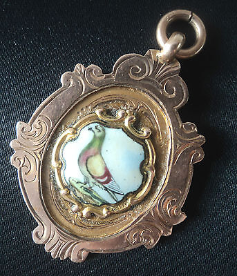 9ct  Gold & Enamel Pigeon Fob Medal  - Thomas James Skelton - Chester 1927
