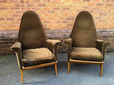Pair of Vintage High Back Chairs - Parker Knoll Style