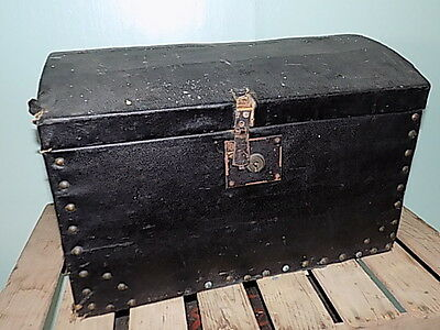Small Victorian~Canvas~Domed Top Trunk~Chest~Storage~Display~Prop