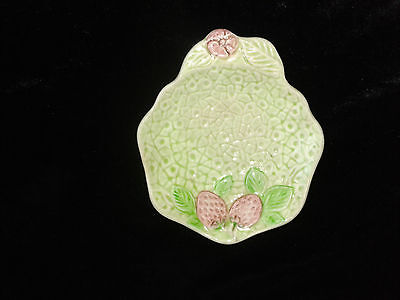 Pretty Vintage 1940's MELBA WARE Green and Embossed, Strawberry Pin Dish