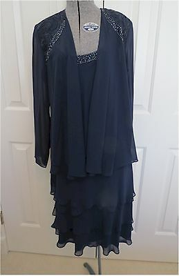 S.L.Fashions Mother-of-Bride Tiered Chiffon Jacket Dress Navy Sz10 MSRP$119.